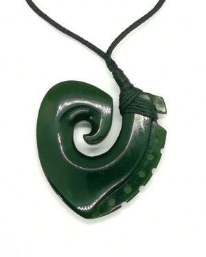 Koru Fishhook Hei-Matau Greenstone Pounamu Pendant