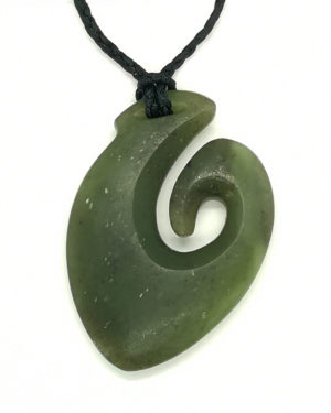Fishhook hei-matau greenstone pounamu koru pendant