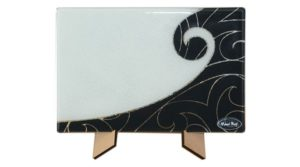 Koru Rectangular Plate Maori Boy Glass Black White