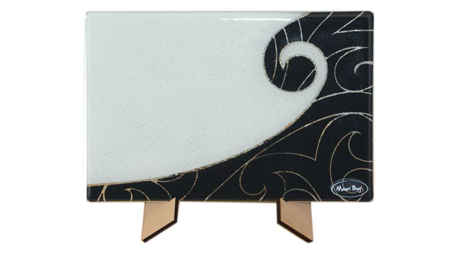 Koru Rectangular Plate Maori Boy Glass Black White