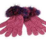 KO56 fur trim gloves rose