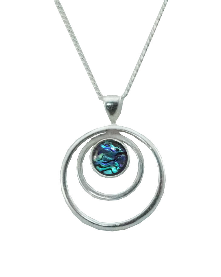 Sterling Silver triple circle pendent with paua cabochon