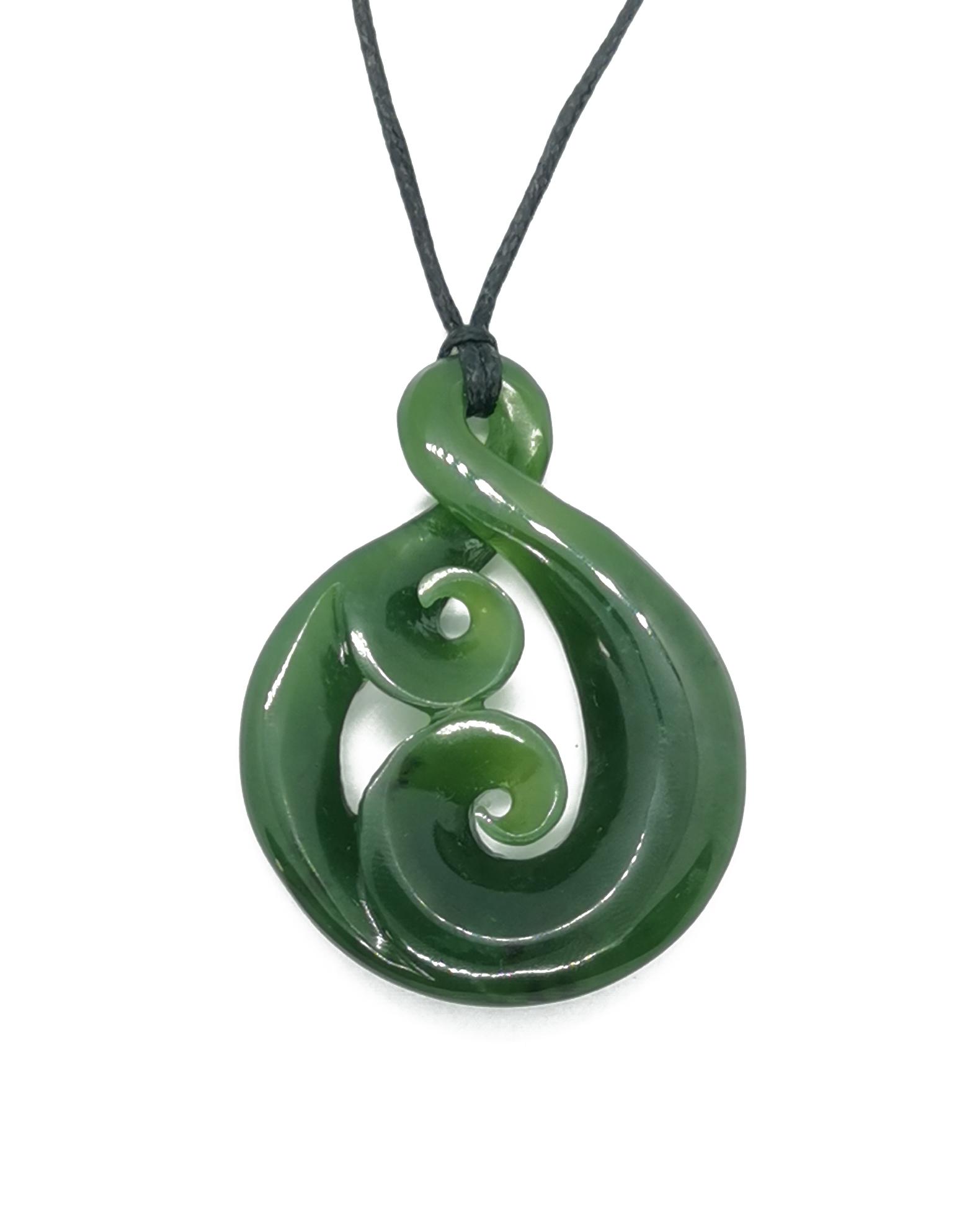Pounamu Greenstone Twist with double koru hand carved Ross Crump