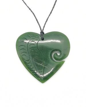 Greenstone heart koru fern pattern pendant