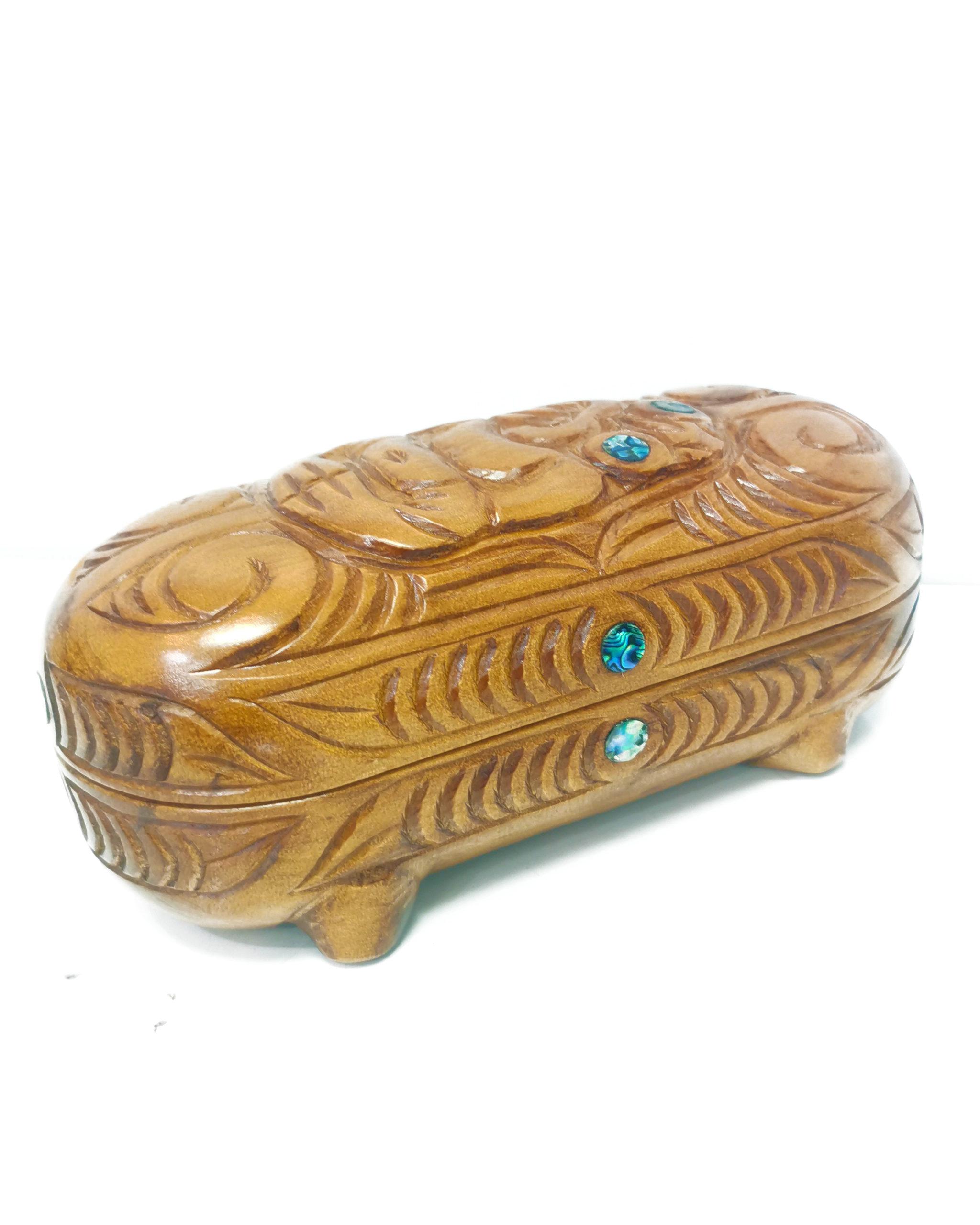 Wakahuia Papahou wooden treasure box paua