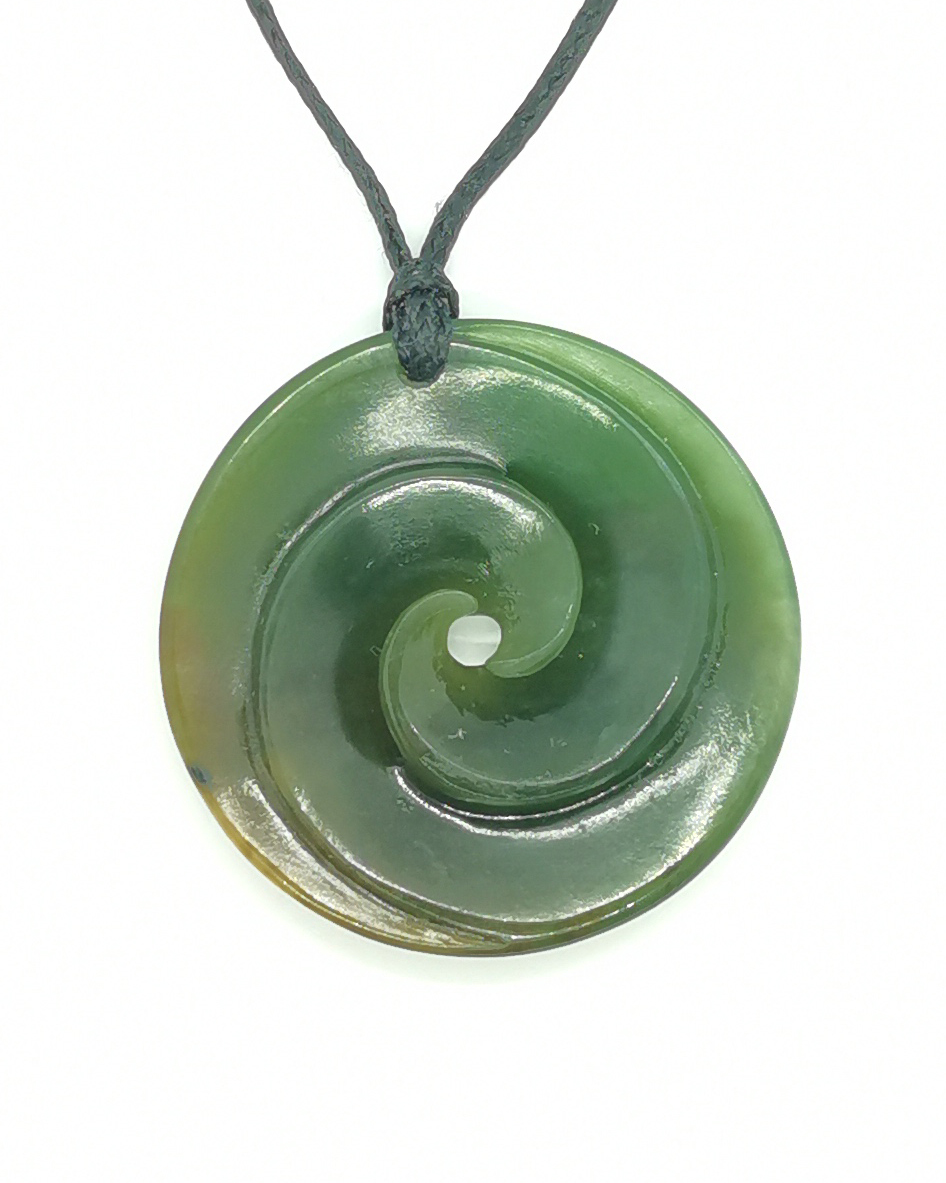 Double Koru disc solid greenstone pounamu pendant