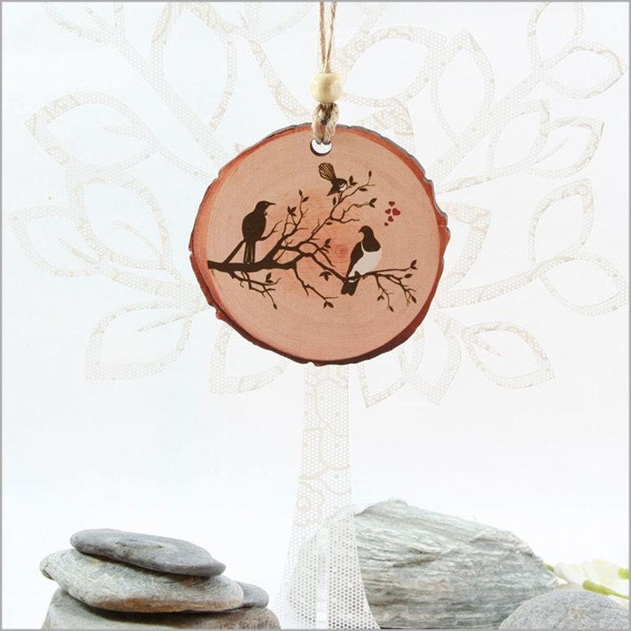 Wood Slice Ornament Birds on Tree