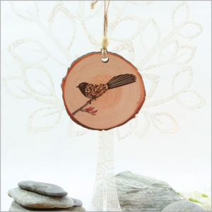 Wood Slice Ornament Filigree Fantail
