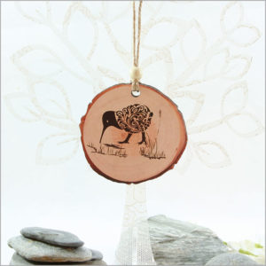Wood Slice Ornament Filigree Kiwi
