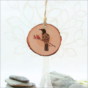 Wood Slice Ornament Filigree Tui