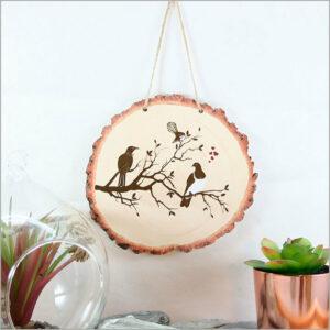 Wood Slice Art Birds on Tree