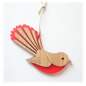 Fantail Ornament bamboo acrylic