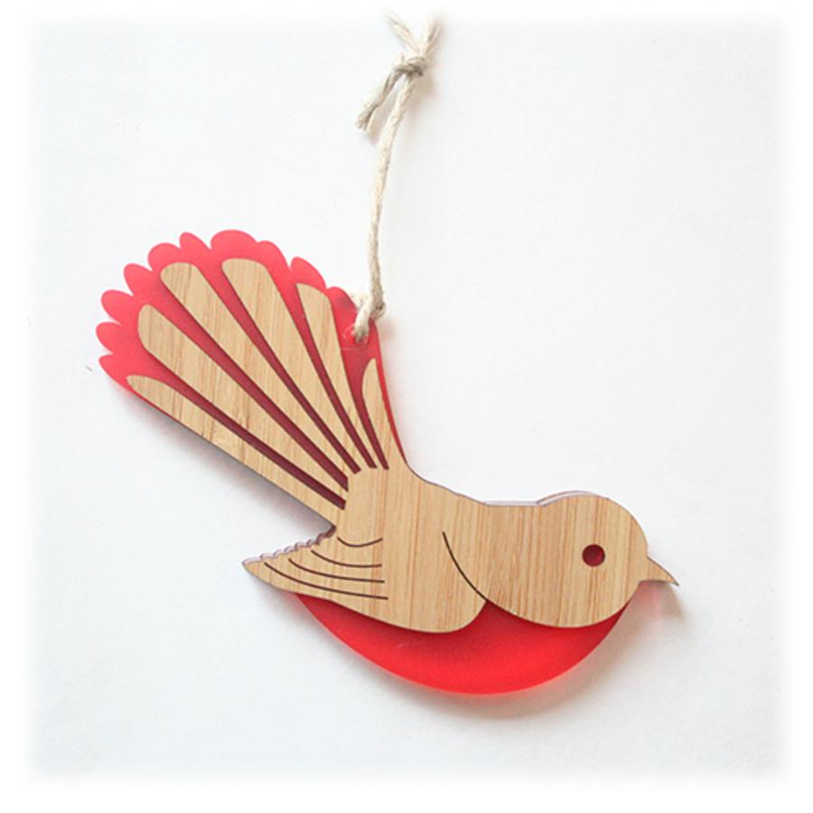 Fantail Ornament bamboo acrylic