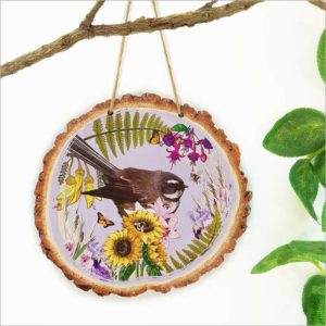 Wood Slice Art Floral NZ Bird Fantail
