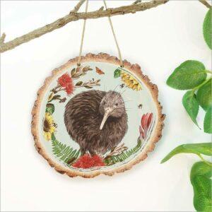 Wood Slice Art Floral NZ Bird Kiwi
