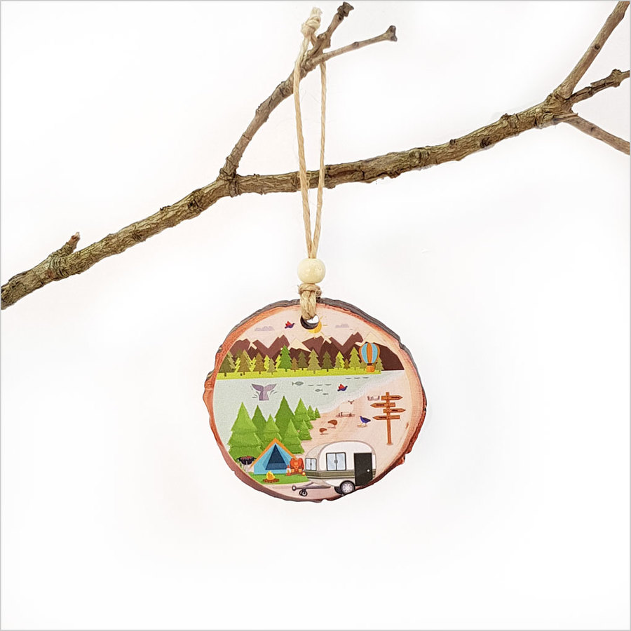 Wood Slice Ornament Kiwi Holiday