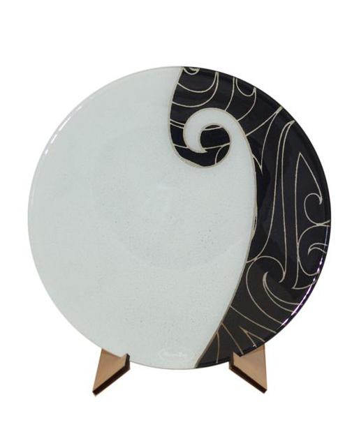 Koru Bowl Maori Boy Glass Black White