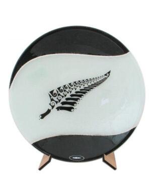Silver Fern art glass bowl maori boy glass