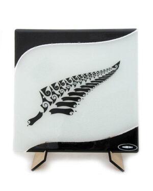 Silver fern square plate maori boy glass