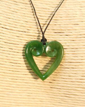 Koru heart greenstone pendant Ross Crump