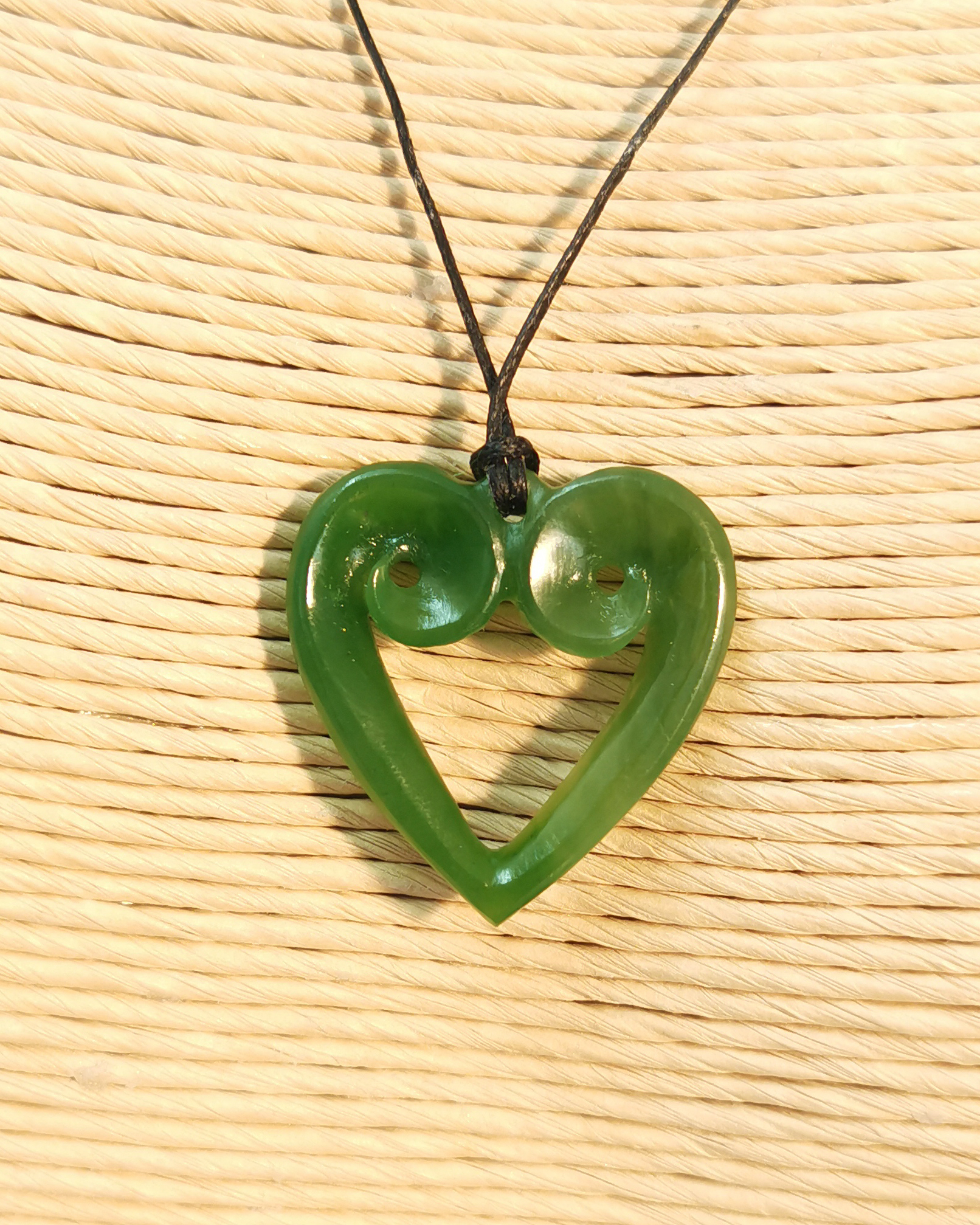Koru heart greenstone pendant Ross Crump